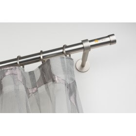 Bastone per Tende in Acciaio Satinato Ø 28mm con Supporto a Parete