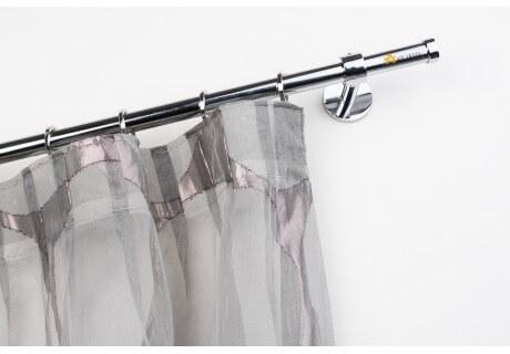 Bastone per Tende in Acciaio Cromato Lucido Ø 20mm con Supporto a Parete