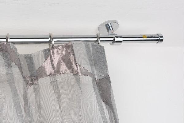 Bastone Tenda A Soffitto.Bastone Per Tende In Acciaio Cromato Lucido O 20mm Con Supporto A