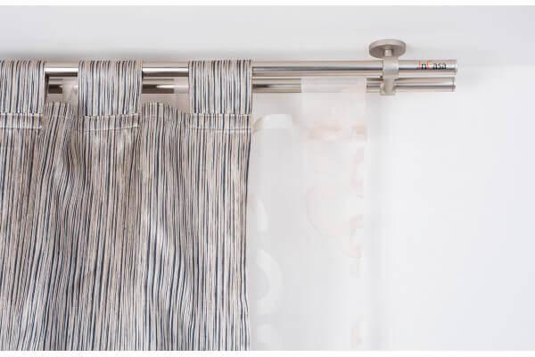 Bastone Tenda A Soffitto.Bastone Per Tende In Acciaio Satinato O 20mm Con Supporto A Soffitto