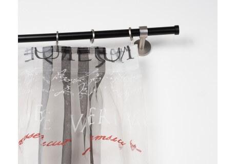 Bastone per Tende in Acciaio Nero Ø 20mm con Supporto a Parete in Acciaio Satinato