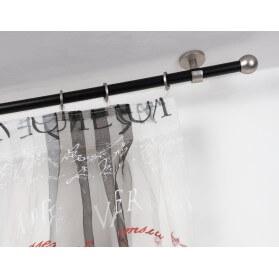 Bastone per Tende in Acciaio Nero Ø 20mm con Supporto a Soffitto in Acciaio Satinato
