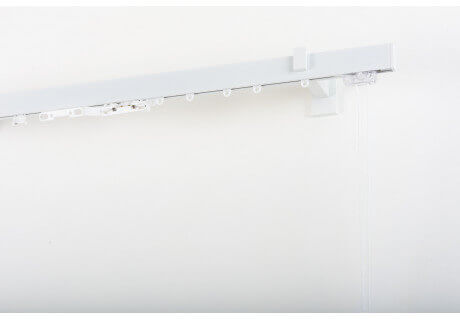 Binario per Tende in Alluminio laccato bianco 32x12mm con Supporto a Parete con Comando a Corda